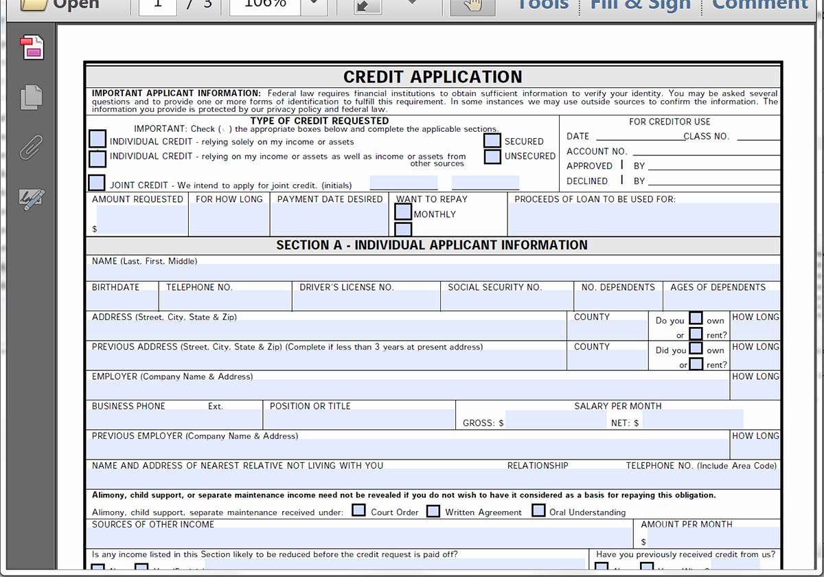 Automobile Credit Application form Beautiful Collect Credit Applications Line with formstack