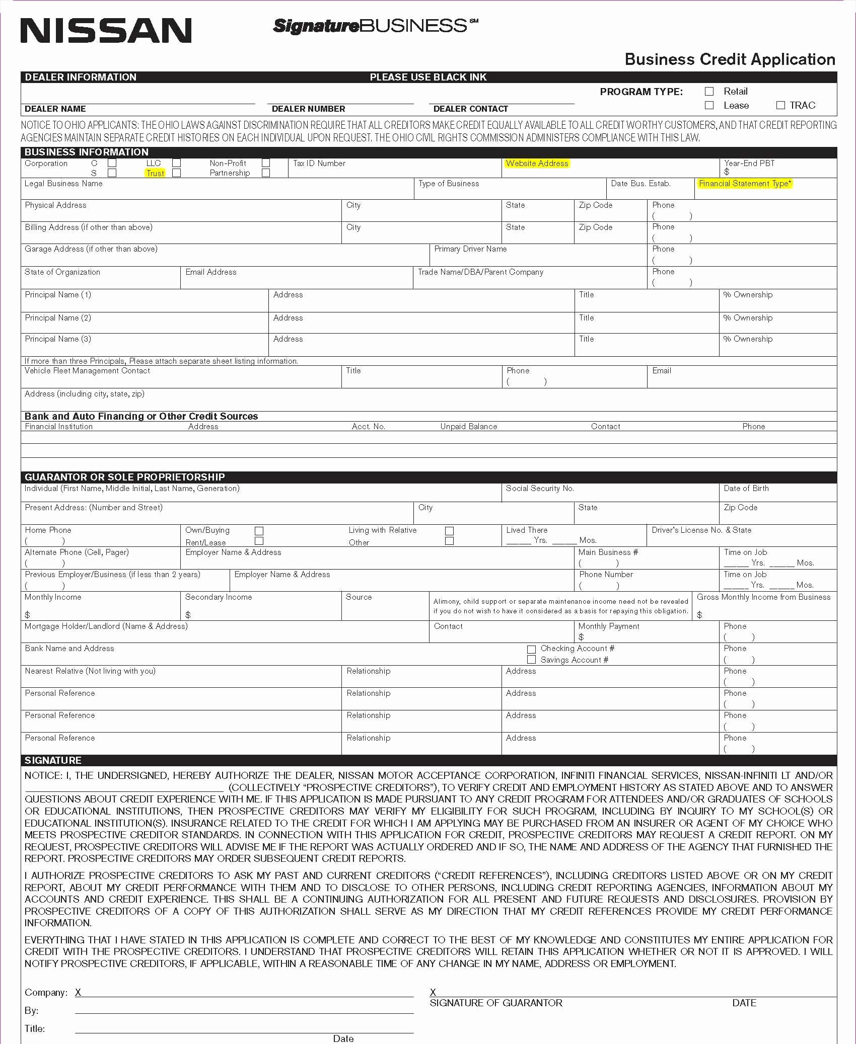 Automobile Credit Application form Elegant Business Credit Application
