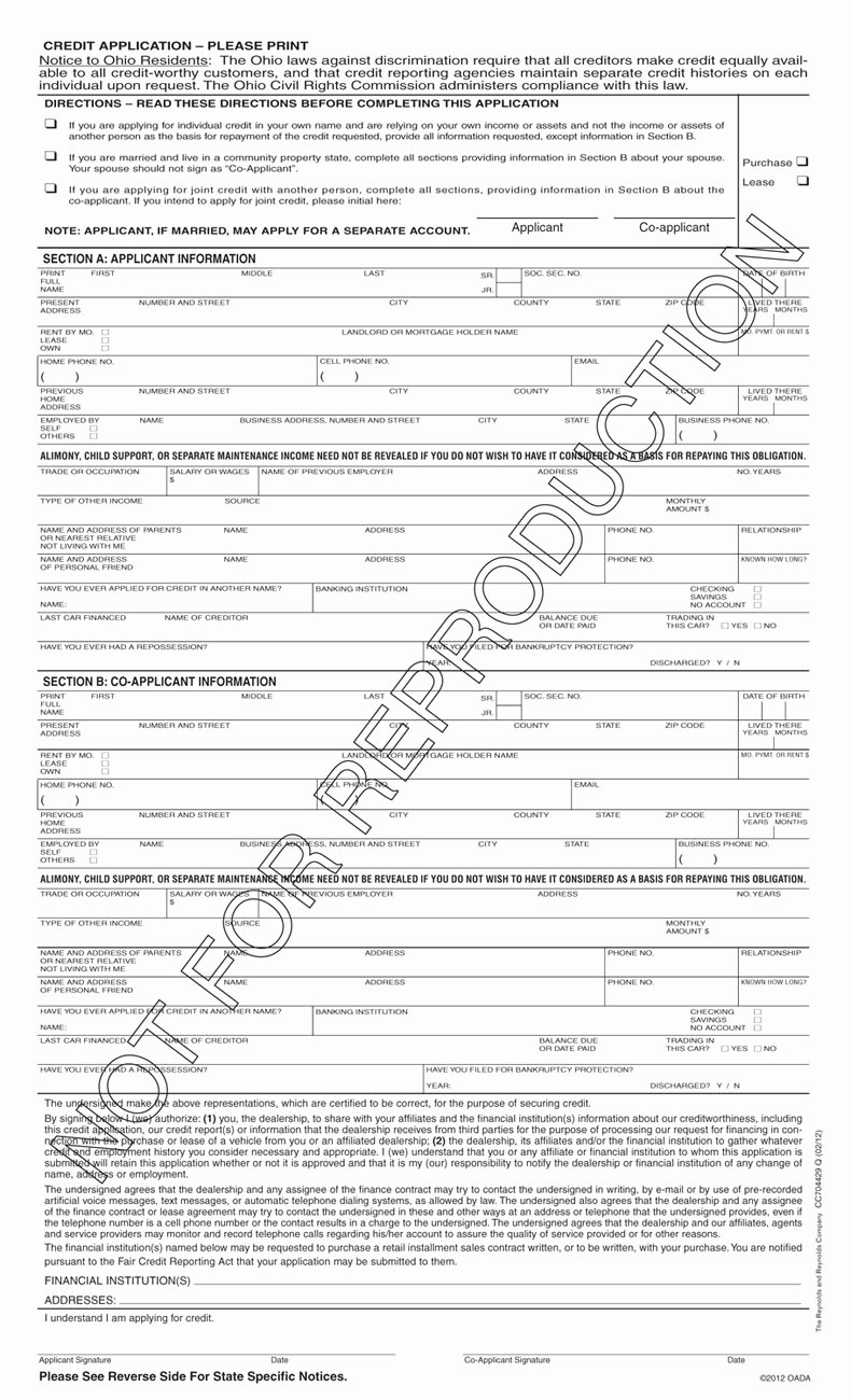 Automobile Credit Application form New Credit Application form 502a