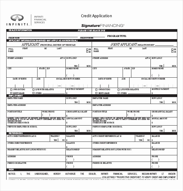 Automotive Credit Application form Awesome Credit Application Template – 13 Free Word Pdf Documents Download