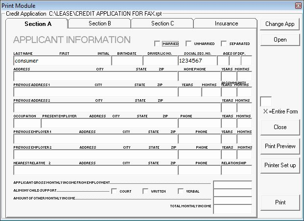 Automotive Credit Application form Beautiful Lease Loan Master Menu Selling23 Auto Car Dealer software