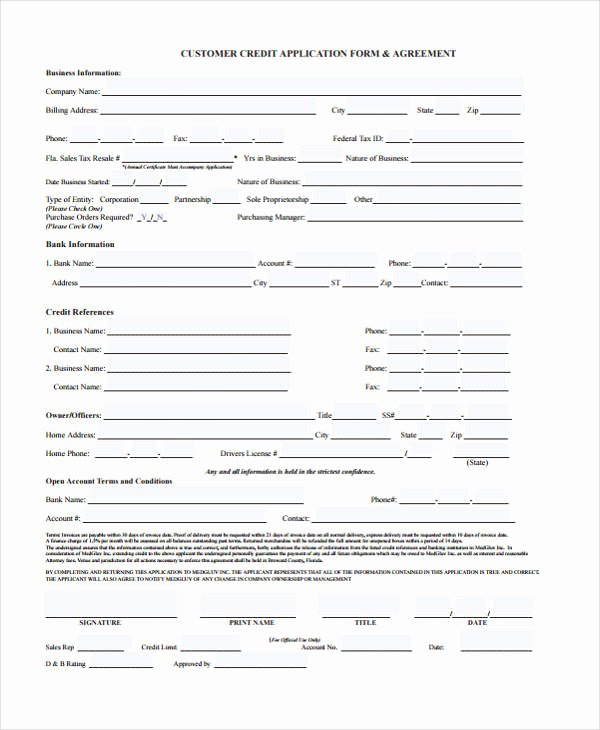 Automotive Credit Application form Elegant 21 Free Credit Application forms