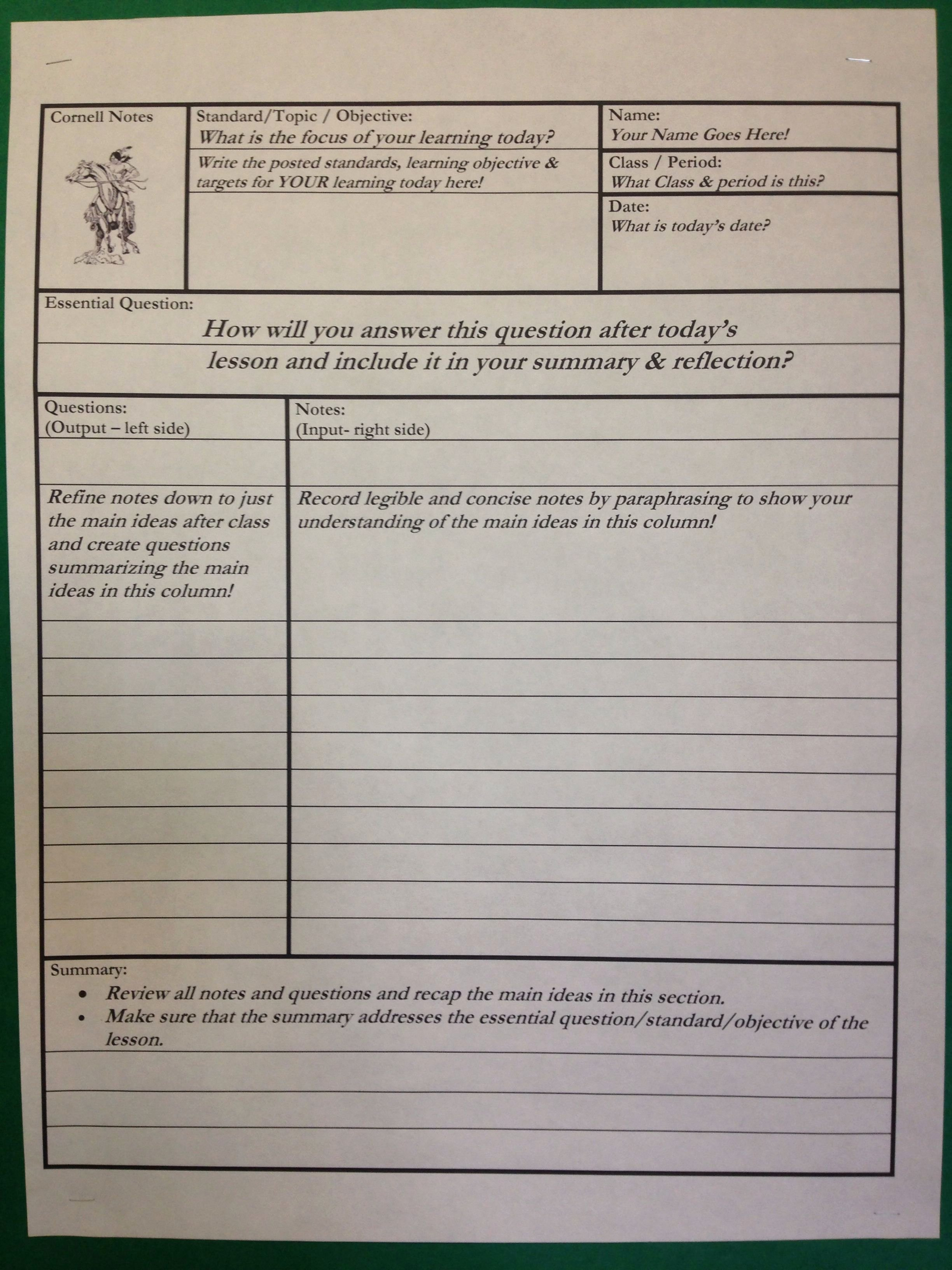 Avid Cornell Notes Template Fresh Cornell Notes … Teacher Stuff