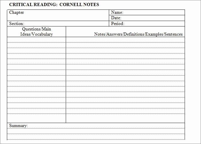 Avid Cornell Notes Template Unique Cornell Notes Template – 51 Free Word Pdf format Download Free & Premium Templates