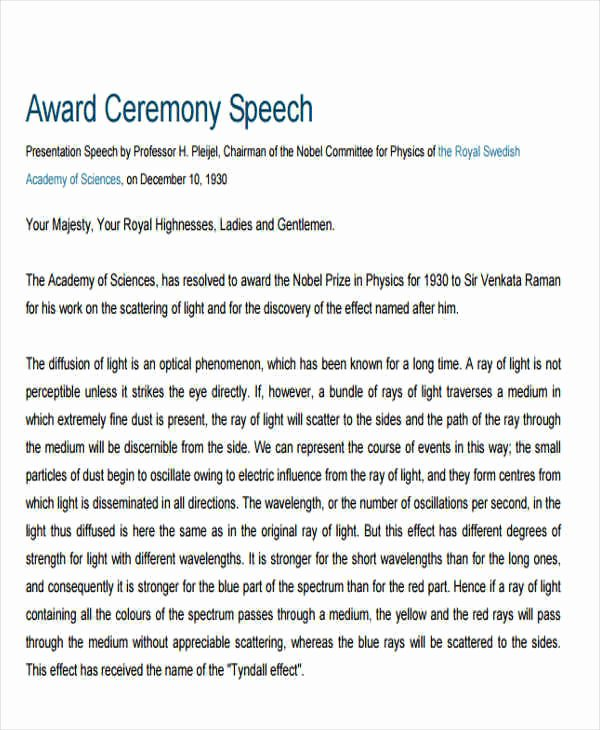 Awards Ceremony Program Sample Unique 44 Speech Samples