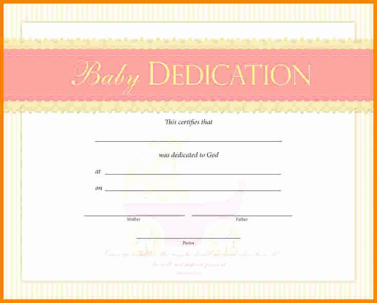 Baby Dedication Certificate Template Beautiful Baby Dedication Certificate