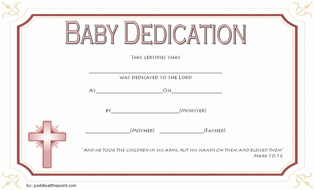 Baby Dedication Certificate Template Best Of Free Fillable Baby Dedication Certificate Download 7 Best