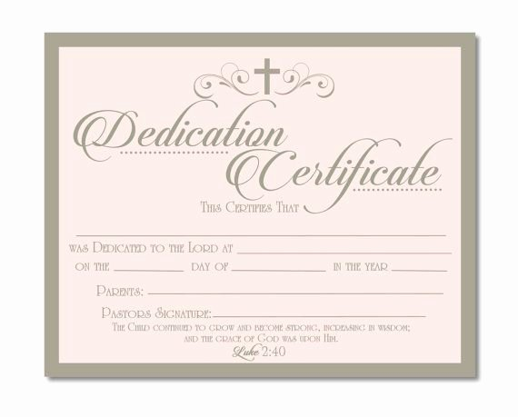 Baby Dedication Certificate Template Best Of Printable Baby Dedication Certificate Digital by Studiobparties …
