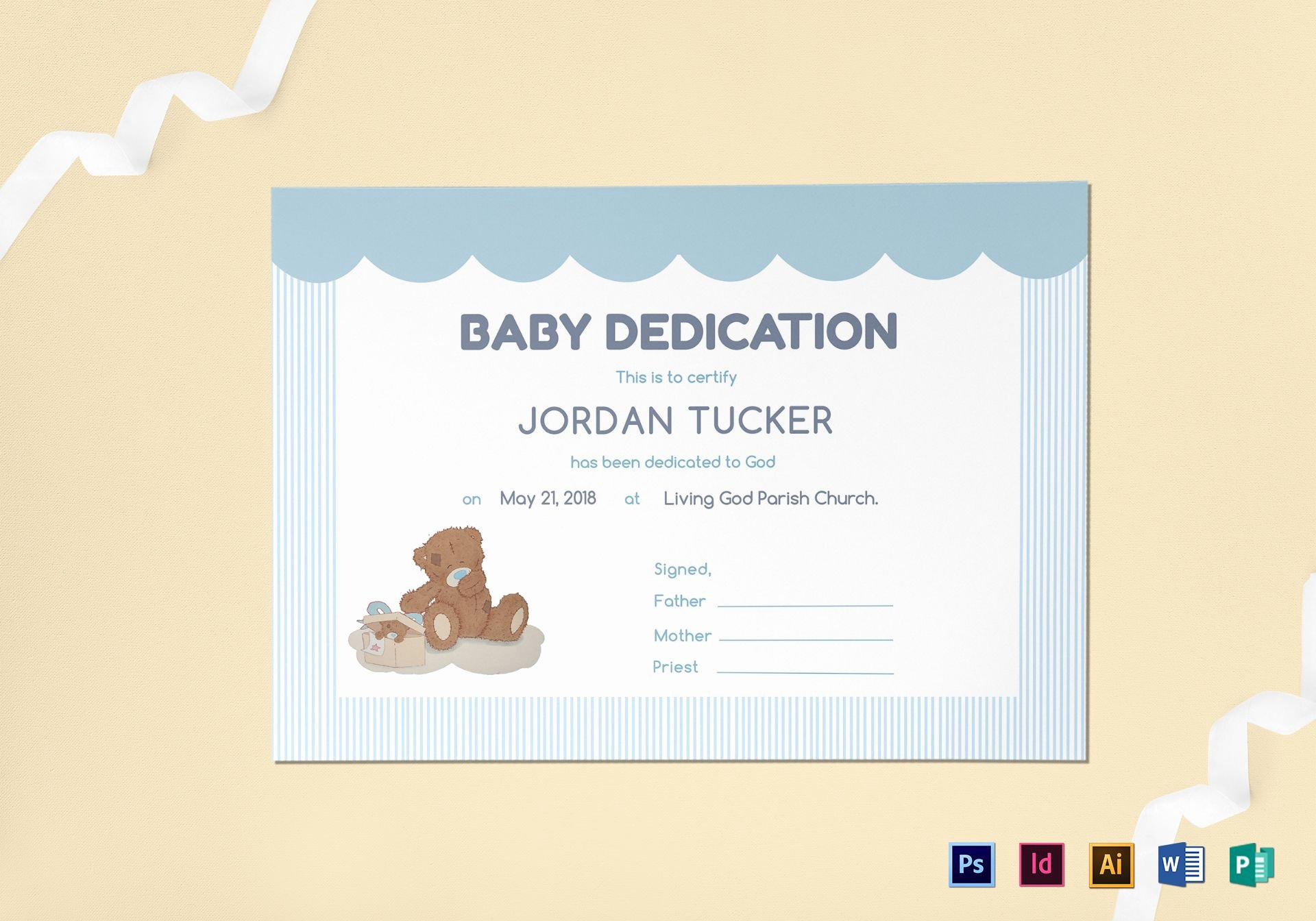 Baby Dedication Certificate Template Fresh Baby Dedication Certificate Design Template In Psd Word Publisher Illustrator Indesign