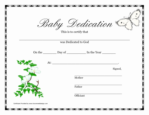 Baby Dedication Certificate Template Lovely Printable Baby Dedication Certificate Certification Pinterest