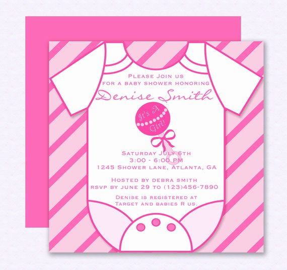 Baby Onesies Invitations Template Unique Diy Do It Yourself Pink Esie Baby Shower Invitation