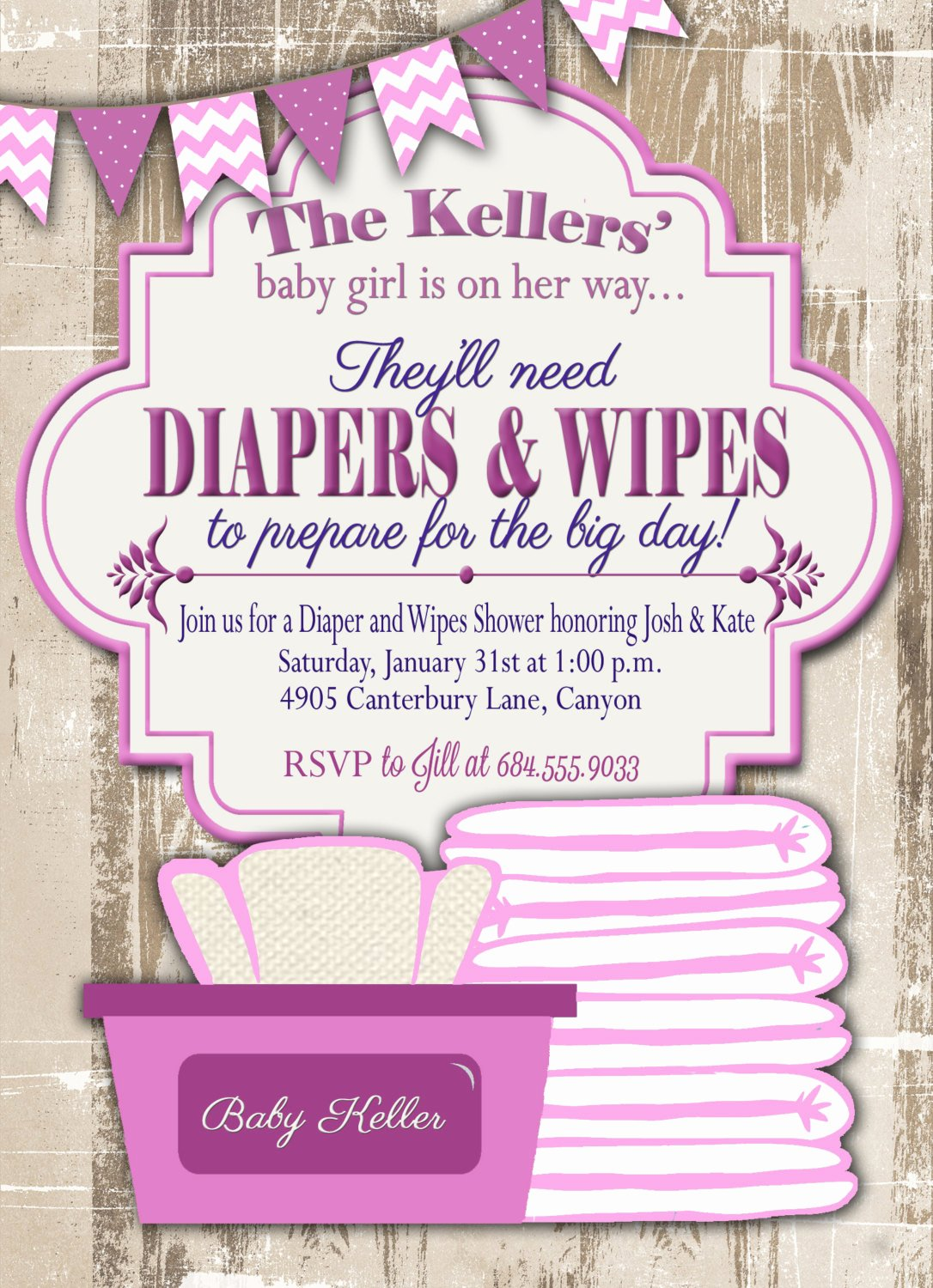 Baby Shower Diaper Invitation Template Fresh Baby Shower Invitation Diaper and Wipes Baby Shower