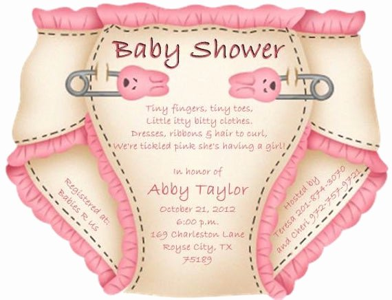 Baby Shower Diaper Invitation Template Lovely Baby Shower Diaper Invitations or Thank You Notes