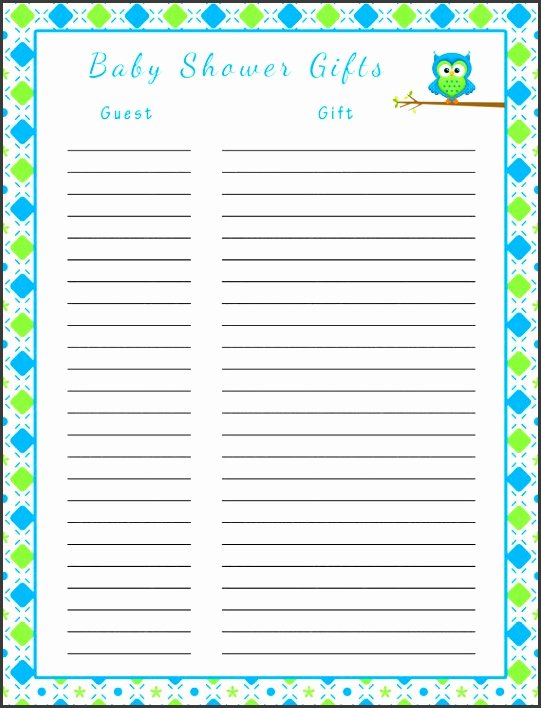 Baby Shower Gift List Template Fresh 10 Gift List Template Sampletemplatess Sampletemplatess