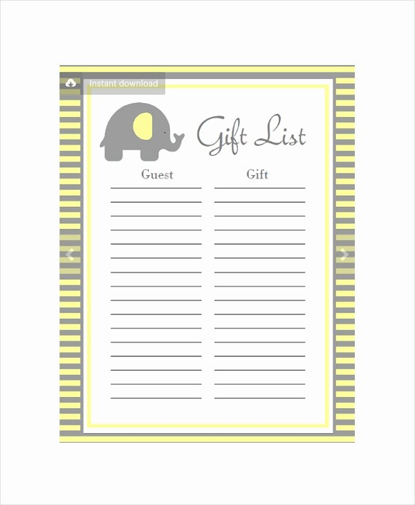 Baby Shower Gift List Template Fresh Baby Shower Planning 5 Free Pdf Documents Download