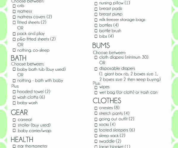Baby Shower Gift List Template Inspirational Baby Shower T Lists – Jwaydesinz