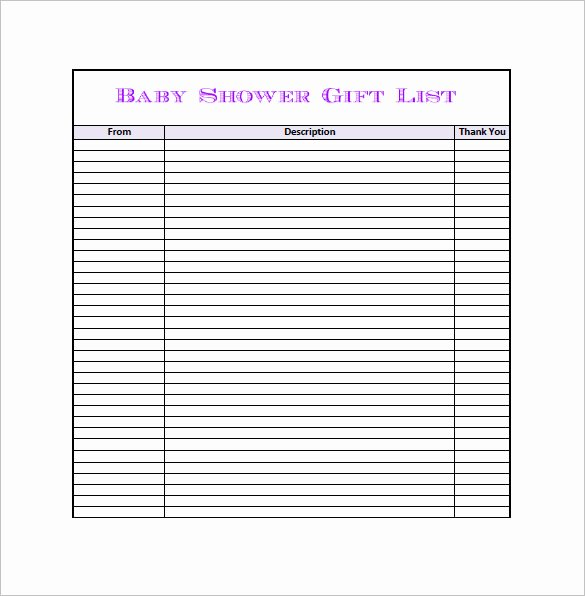 Baby Shower Gift List Template Lovely Baby Shower Gift List Template 5 Free Sample Example