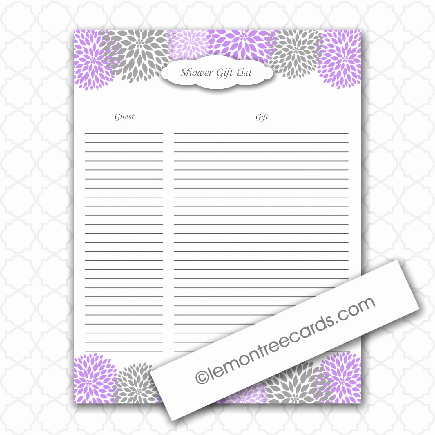 Baby Shower Gift List Template Lovely Lavender Bridal or Baby Shower Gift List Instant
