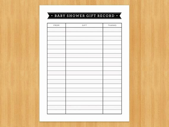 Baby Shower Gift List Template Unique Printable Baby Shower Gift Record List List Of Gifts