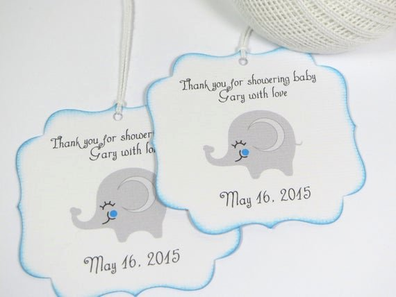 Baby Shower Gift Tag Best Of Elephant Baby Shower Favor Tags Boy Baby by Wildsugarberries
