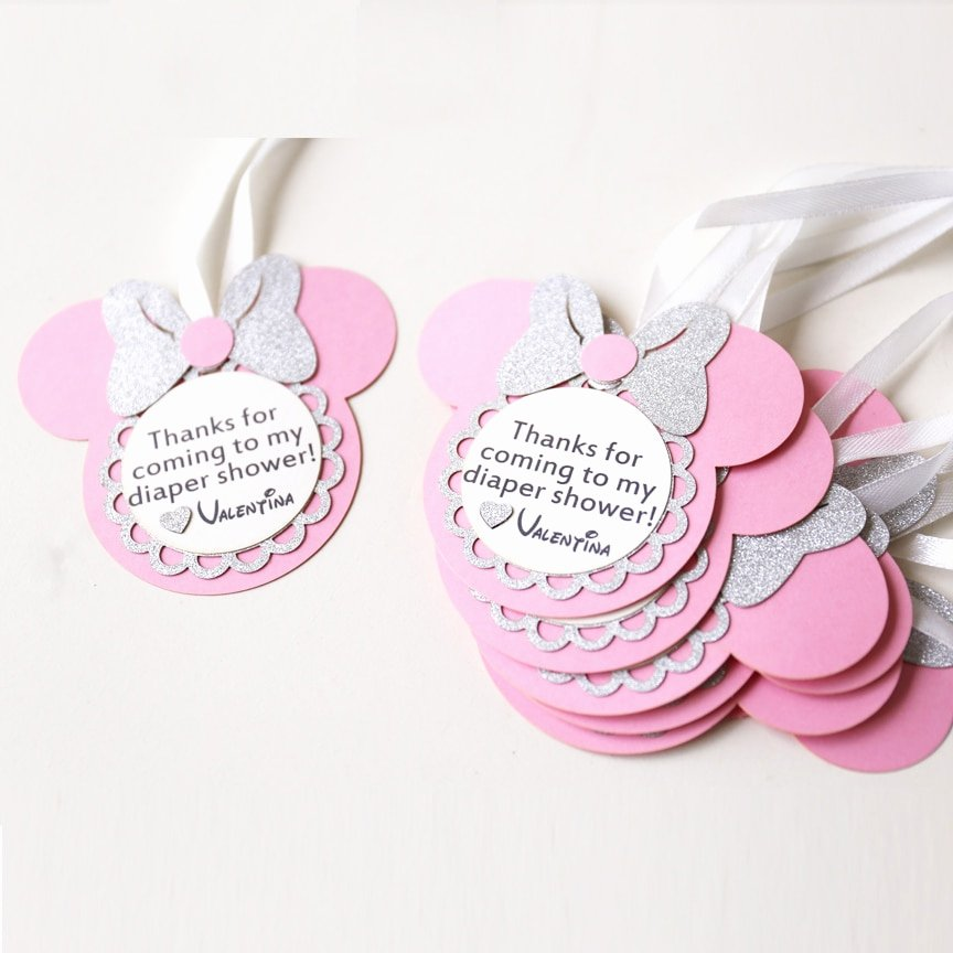 Baby Shower Gift Tag New Personalized Birthday Favour Tags Custom Minnie Party T Tags Laser Cut Baby Shower Thank