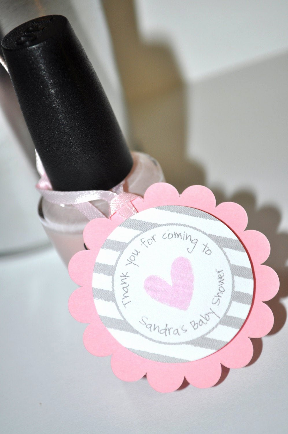 Baby Shower Gift Tags Elegant Girls Baby Shower Favor Tags Pink and Gray by sosweetpartyshop