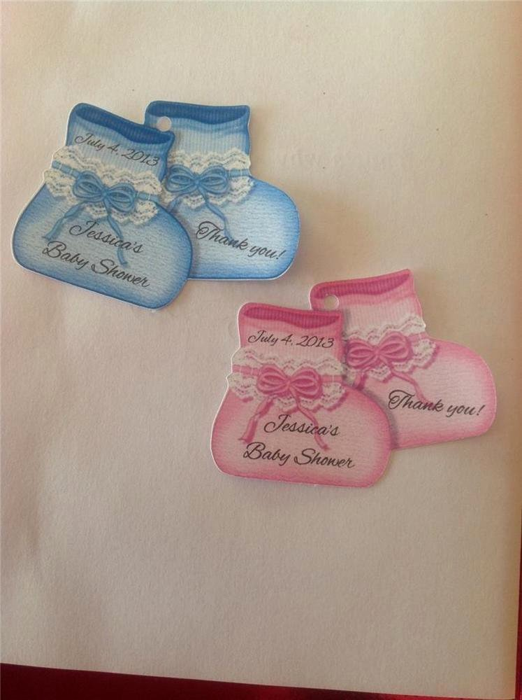 Baby Shower Gift Tags Lovely Baby Shower Favor Tags Pink or Blue Baby Booties Personalized