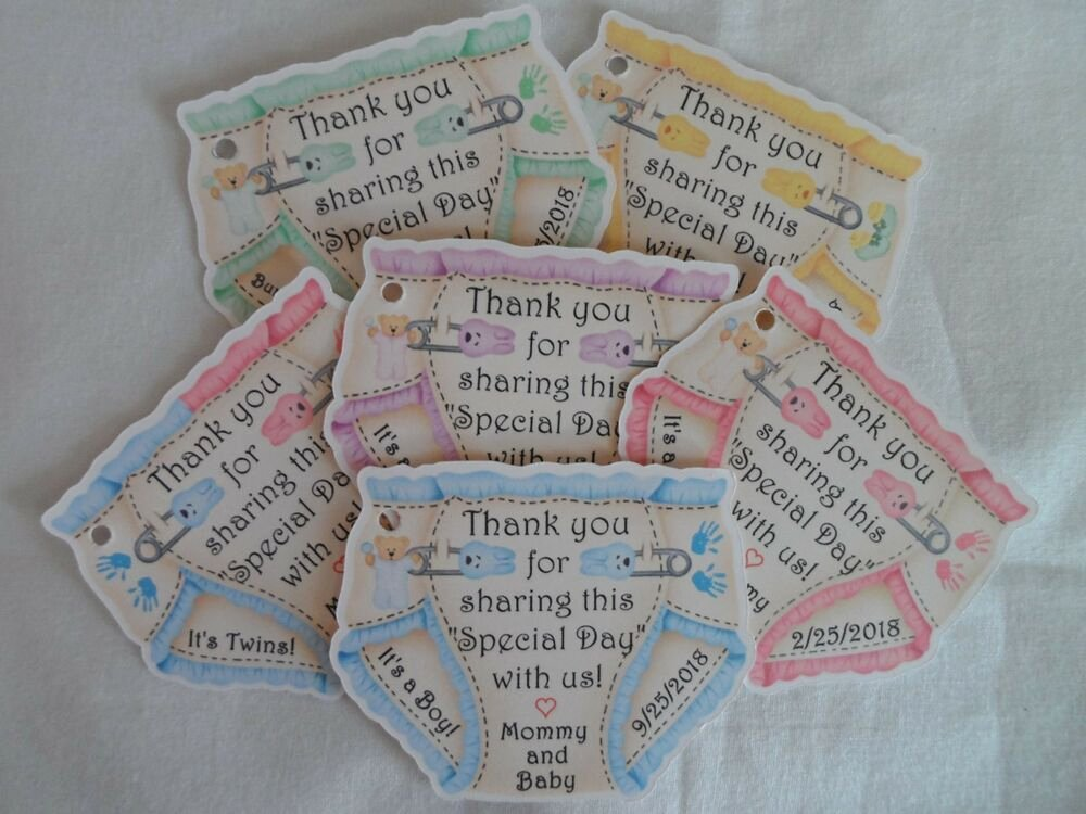 Baby Shower Gift Tags New Unique Personalized Diaper theme Twins Baby Shower Party Favor Gift Tags