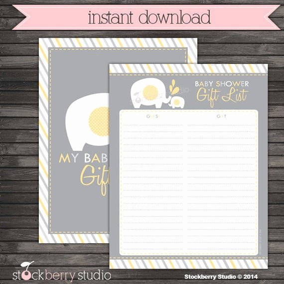 Baby Shower Gift Tracker Beautiful Elephant Guest Gift List Baby Shower Printable Yellow and Gray Instant Download Elephant