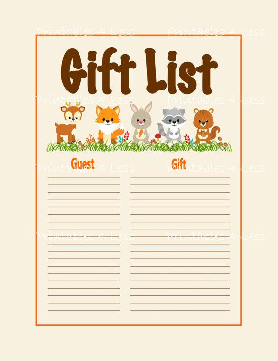 Baby Shower Gift Tracker Best Of Woodlands Gift List Printable Woodlands Baby Shower Gift