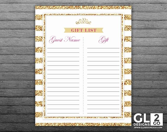 Baby Shower Gift Tracker Elegant Princess Baby Shower Gift List Tracker 8x10 Printable