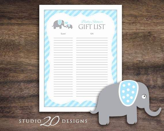 Baby Shower Gift Tracker Lovely Instant Download Blue Elephant Baby Shower for Boy Baby