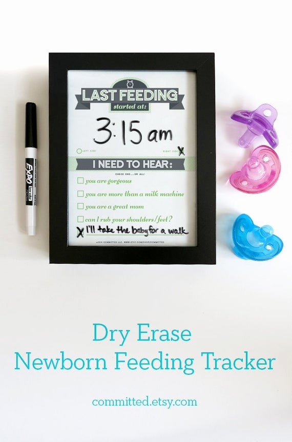 Baby Shower Gift Tracker New Dry Erase Newborn Feeding Tracker Baby Shower Gift Green Dry