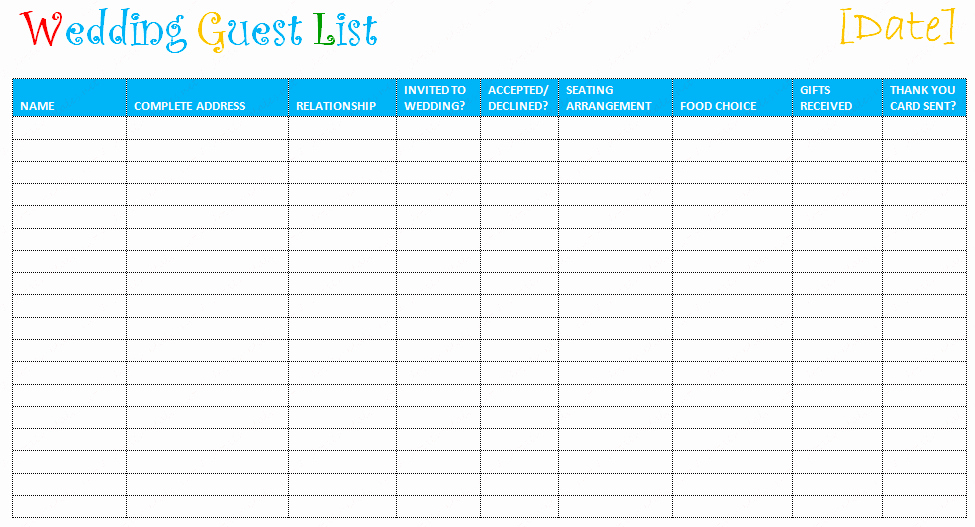 Baby Shower Guest List Template Awesome Best S Of Guest List Print Out Free Baby Shower Guest List Wedding Guest List Template