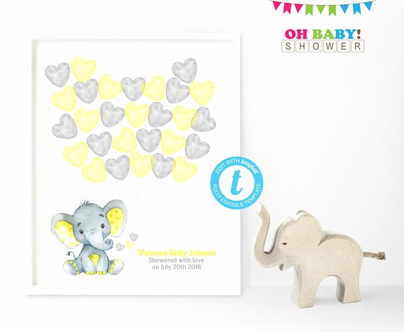 Baby Shower Guest List Template Fresh Guest Book Template Yellow Elephant Baby Shower Guest Book