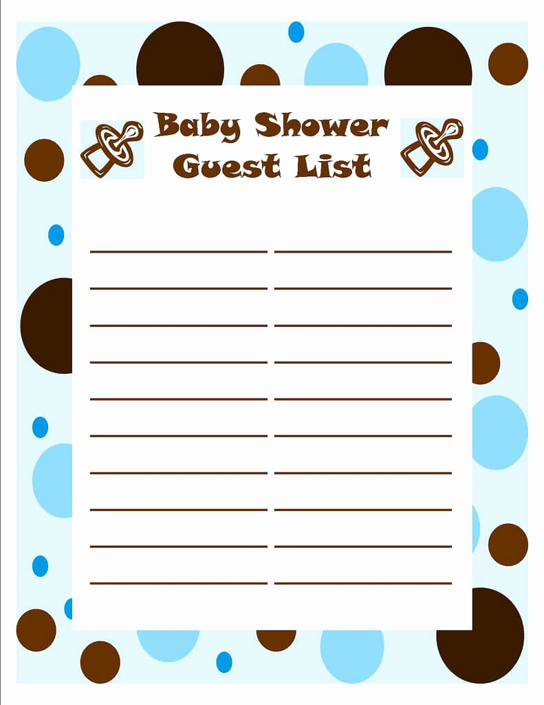 Baby Shower Guest List Template Fresh Template Of Baby Shower Guessing Game and Guest List