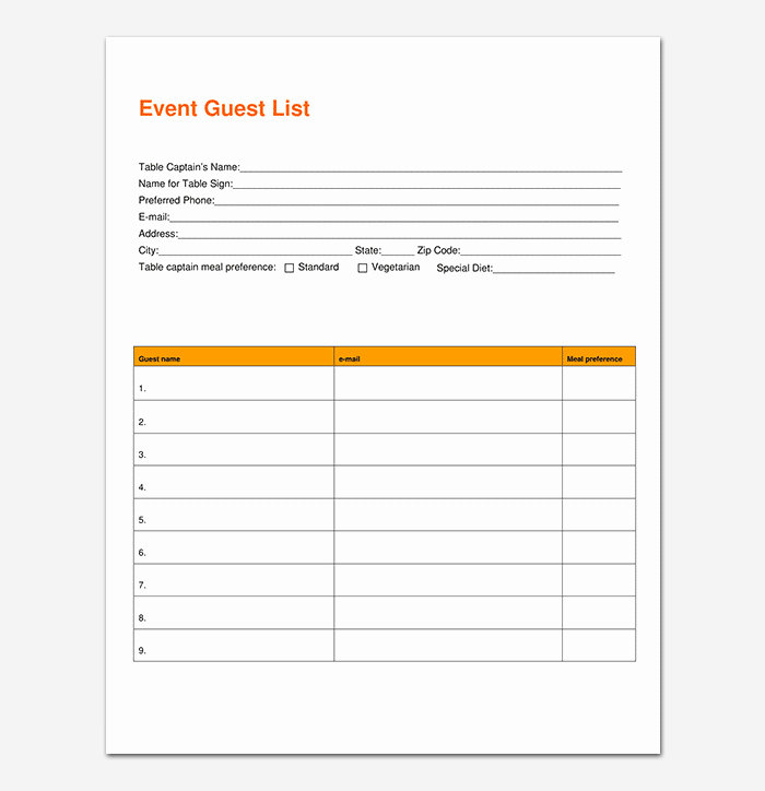 Baby Shower Guest List Template Inspirational 17 Free Baby Shower Guest List Templates Ms Fice Documents