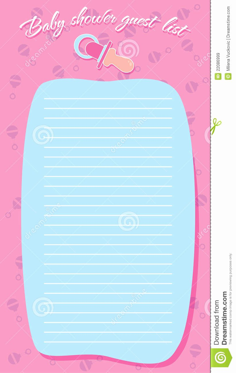 Baby Shower Guest List Template Inspirational Template Frame Design for Baby Shower Royalty Free Stock Image