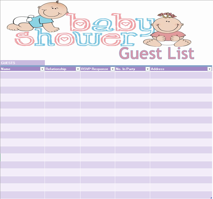 Baby Shower Guest List Template Luxury 17 Free Baby Shower Guest List Templates Ms Fice Documents