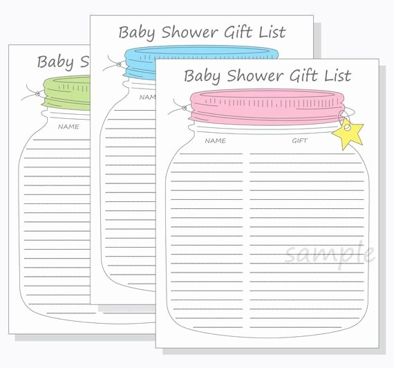 Baby Shower Guest List Template Luxury Baby Shower Gift Wish List Template Gift Ftempo