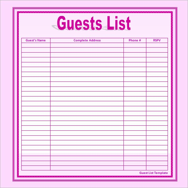 Baby Shower Guest List Template New Best S Of Guest List Print Out Free Baby Shower Guest List Wedding Guest List Template