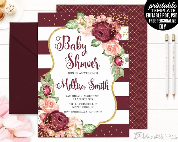 Baby Shower Invitation Psd Unique Baby Shower Invitation Template Printable Marsala Roses
