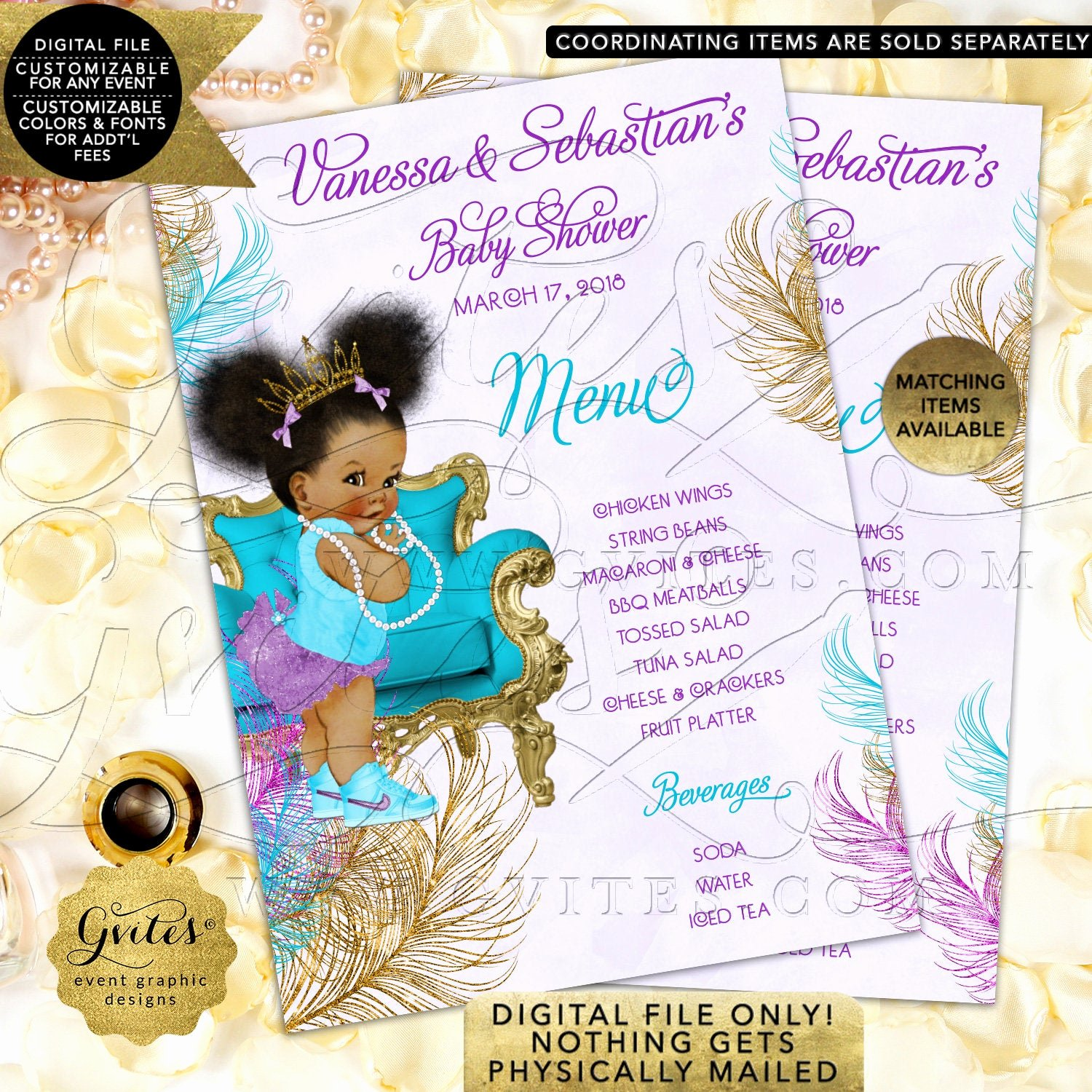 Baby Shower Menu Cards Awesome Baby Shower Menu Cards Turquoise Purple Lavender Gold African American Girl Vintage Diamonds