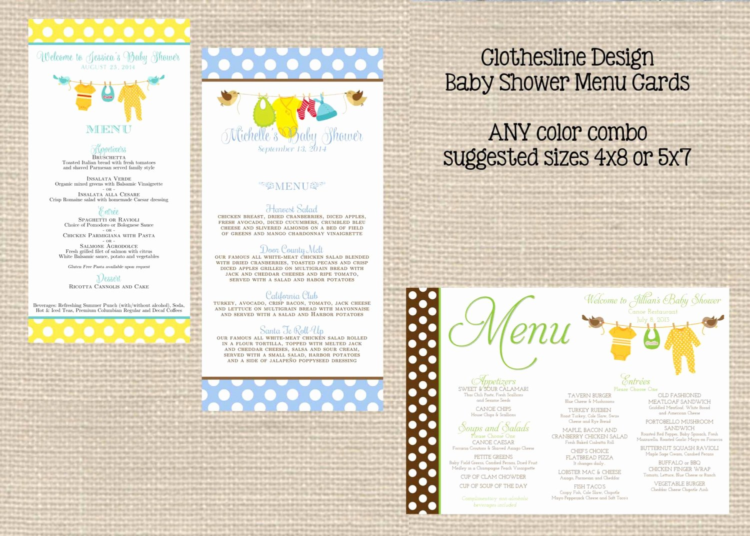 Baby Shower Menu Cards Beautiful Baby Shower Menu Cards Printable Girl Boy or Neutral