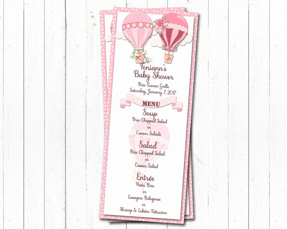 Baby Shower Menu Cards Beautiful Pink Baby Shower Menu Cards Baby Girl Dinner Party Menus Hot