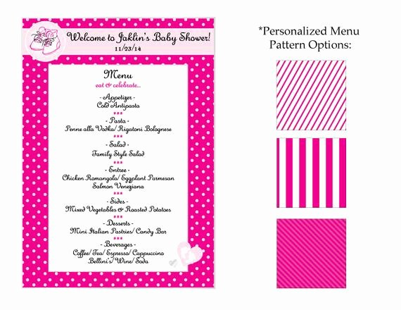 Baby Shower Menu Cards Elegant Baby Shower Menu Card