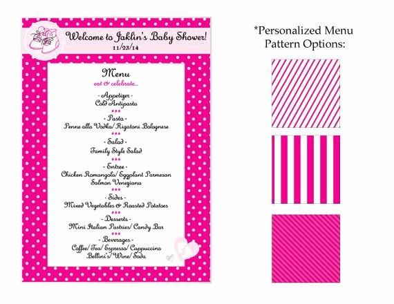 Baby Shower Menu Cards Elegant Baby Shower Menu Card