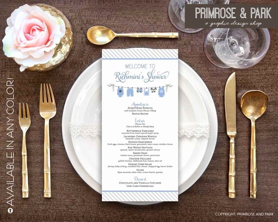 Baby Shower Menu Cards Elegant Baby Shower Menu Cards Birthday Menu Card Menu Template