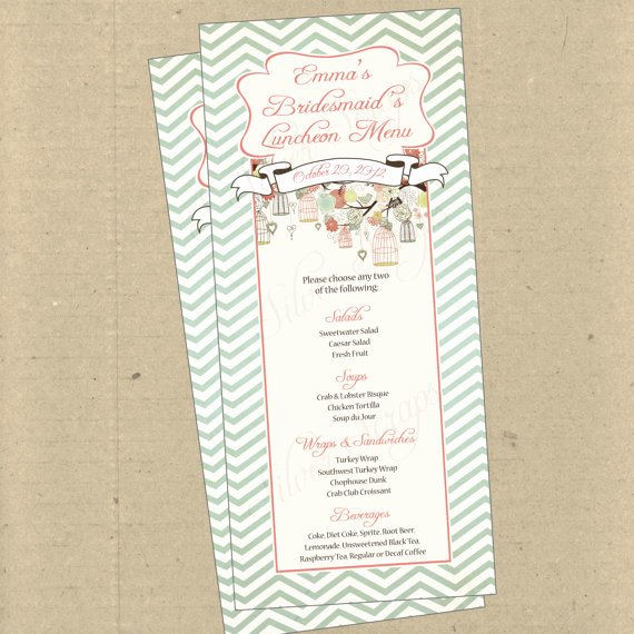 Baby Shower Menu Cards Inspirational Items Similar to Birdcages Birds Chevron 2 Custom Menu Card Bridal Baby Shower Rehearsal