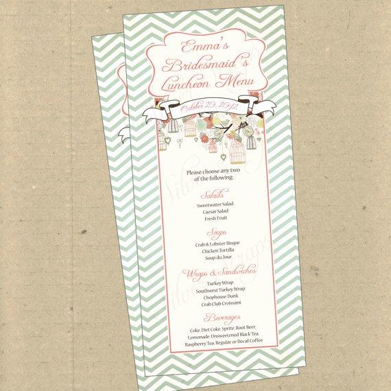 Baby Shower Menu Cards Inspirational Items Similar to Birdcages Birds Chevron 2 Custom Menu Card Bridal Baby Shower Rehearsal